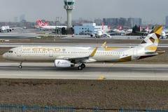 A6-AEF Etihad Airways, flygbuss A321 - 200 Royaltyfria Bilder