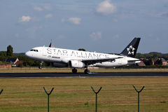 Aegan Star alliance airplane landing Royalty Free Stock Image