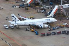 Aegean Airlines Airbus A320. Parked at gate at Amsterdam Airport Schiphol Royalty Free Stock Photos