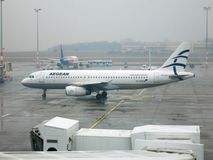 Aegean Airlines Airbus A320 at Budapest stock photography