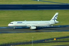 Aegean Airlines Airbus A321. Taxiing on taxiway stock image