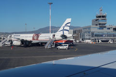 Aegean airlines aircraft at airport. stock images