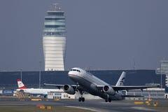 Aegean airlines plane taking off from Vienna Airport, Schwechat VIE stock photos
