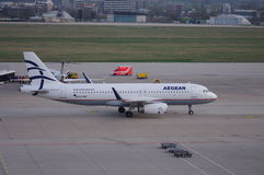 Aegean Airlines. SX-DNC Airbus A320-232 taxiing in Stuttgart Germany Stock Photography