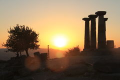 Aegean area - Assos Castle, sunset at Temple of Athena,. Assos was a city ancient Roman period at Aegean seaside Stock Photos