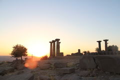 Aegean area - Assos Castle, sunset at Temple of Athena,. Assos was a city ancient Roman period at Aegean seaside Stock Images