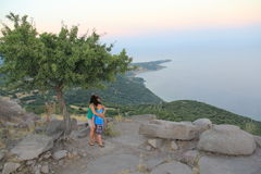Aegean area - Assos Castle, sunset at Temple of Athena, Royalty Free Stock Images