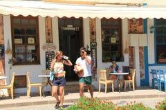 Aegean area -people on street  Royalty Free Stock Photo