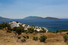 Aegean blue. View of  luxury resort hotel and Island Karaada on turkish shore of Aegean Sea not far from Bodrum Stock Images