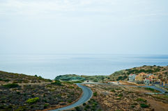Aegean coast. Mountain Landscape Greek island of Crete (Northern Crete). Aegean Sea stock photo