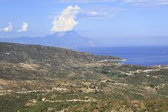 Aegean coast and Mount Athos. Stock Image