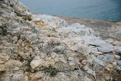 Aegean coast in Turkey, stone rocks and blue water. Shot from above royalty free stock image