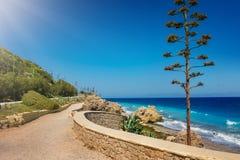 Aegean coastline of city of Rhodes Rhodes, Greece royalty free stock image