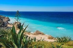 Aegean coastline of city of Rhodes Rhodes, Greece stock image
