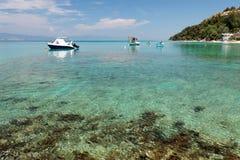 Aegean harbour. Fishing ships at the Aegean Sea, Greece Stock Photos