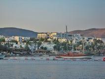 Aegean hav i den Bodrum staden Royaltyfri Foto