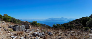 Aegean islands Turkish Mediterranean Sea with historical ruin Stock Photography
