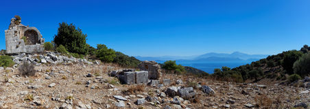Aegean islands Turkish Mediterranean Sea with historical ruin Stock Photo