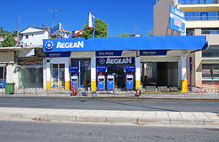 Aegean petrol station in Thessaloniki, Greece. Aegean Oil is a Greek company, run by Greeks from our Piraeus headquarters. Aegean line of products has an Royalty Free Stock Photo