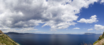 Aegean sea. Panoramic view of islands in aegean sea in Greece Stock Photo