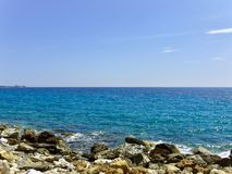 Aegean sea Athens.Blue sky and cloud stock photography