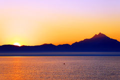 Aegean Sea and Athos Mountain Stock Image