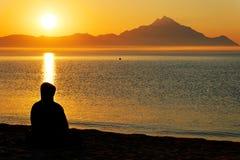 Aegean Sea and Athos Mountain Royalty Free Stock Image