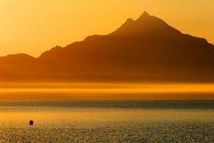 Aegean Sea and Athos Mountain Stock Photos