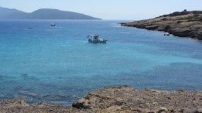 Aegean Sea. A boat in the Aegean Sea. Aegean coast near Bodrum, Turkey royalty free stock images