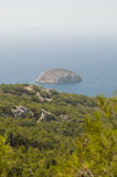 Aegean sea coast. Rocky Aegean coast line from the top Royalty Free Stock Photography