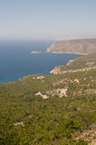 Aegean sea coast. Rocky Aegean coast line from the top Stock Images