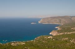 Aegean sea coast. Rocky Aegean coast line from the top Royalty Free Stock Image