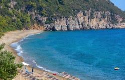 Aegean sea coast with beach Greece. Royalty Free Stock Photography