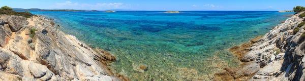 Aegean sea coast Chalkidiki, Greece. Aegean sea coast landscape, view near Karidi beach Chalkidiki, Greece. Panorama stock images
