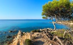 Aegean sea coast Chalkidiki, Greece. Aegean sea coast landscape with aquamarine water, view near Mega Portokali Beach Sithonia, Chalkidiki, Greece Stock Image