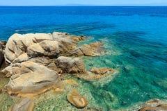 Aegean sea coast Chalkidiki, Greece. Aegean sea coast landscape with clear aquamarine water Chalkidiki, Greece Royalty Free Stock Image