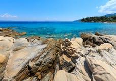 Aegean sea coast Chalkidiki, Greece. Aegean sea coast landscape, near Karidi beach Chalkidiki, Greece Royalty Free Stock Photos