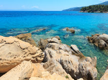 Aegean sea coast Chalkidiki, Greece. Aegean sea coast landscape, near Karidi beach Chalkidiki, Greece Royalty Free Stock Images