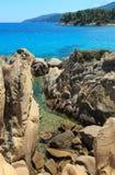 Aegean sea coast Chalkidiki, Greece. Aegean sea coast landscape, near Karidi or Karydi beach Chalkidiki, Greece Stock Photo