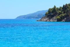 Aegean sea coast Chalkidiki, Greece. Aegean sea coast landscape, near Karidi or Karydi beach Chalkidiki, Greece Stock Images