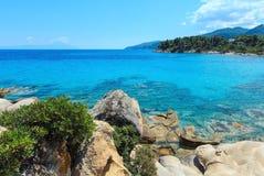 Aegean sea coast Chalkidiki, Greece. Aegean sea coast landscape, near Karidi or Karydi beach Chalkidiki, Greece Stock Photography