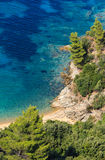 Aegean sea coast Chalkidiki, Greece. Aegean sea coast landscape with sandy beach Chalkidiki, Greece Stock Photography