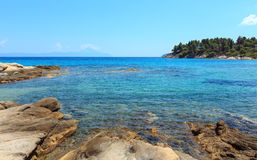 Aegean sea coast Chalkidiki, Greece. Aegean sea coast landscape, view from Karidi beach Chalkidiki, Greece Stock Images