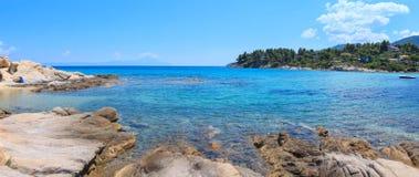 Aegean sea coast Chalkidiki, Greece. Aegean sea coast landscape, view from Karidi beach Chalkidiki, Greece. Two shots stitch panorama Royalty Free Stock Photo