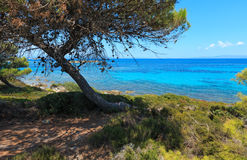 Aegean sea coast Chalkidiki, Greece. Aegean sea coast landscape, view near Karidi beach Chalkidiki, Greece Stock Photography