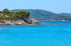 Aegean sea coast Chalkidiki, Greece. Aegean sea coast landscape, view near Karidi beach Chalkidiki, Greece Royalty Free Stock Photo