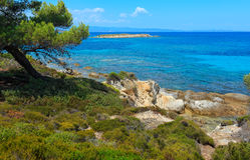 Aegean sea coast Chalkidiki, Greece. Aegean sea coast landscape, view near Karidi beach Chalkidiki, Greece Royalty Free Stock Image