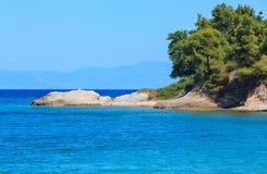 Aegean sea coast Chalkidiki, Greece. Aegean sea coast landscape, view near Karidi beach Chalkidiki, Greece Stock Photo