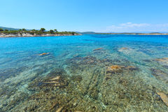 Aegean sea coast Chalkidiki, Greece. Aegean sea coast landscape, view near Karidi beach Chalkidiki, Greece Royalty Free Stock Photos