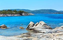 Aegean sea coast Chalkidiki, Greece. Aegean sea coast landscape, view near Karidi beach Chalkidiki, Greece Stock Image
